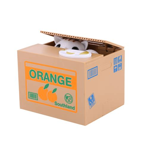 Coin Saving Box orange cat automated stealing coin money animal piggy bank