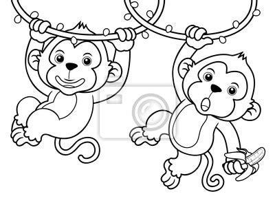 dibujos para colorear de monos wall mural illustration of cartoon monkeys coloring book