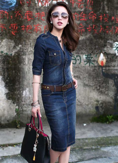 Baju Dress Wanita Dress Denim dress denim wanita terbaru free belt a2854