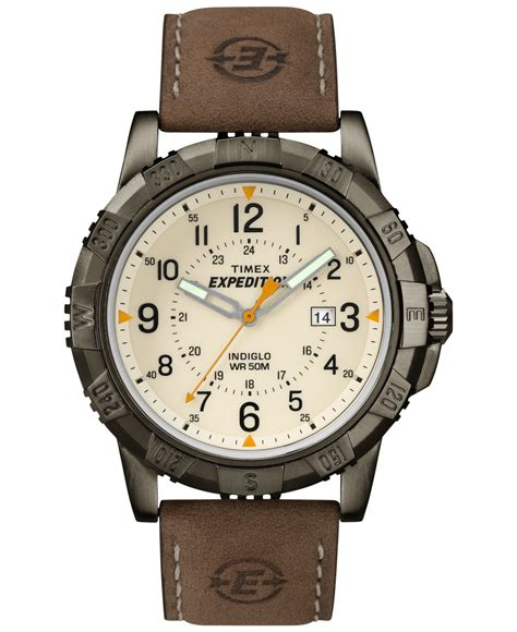 timex expedition rugged field metal timex s expedition rugged metal field brown leather 45mm t49990um in brown for