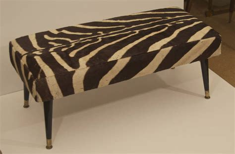 zebra hide bench vintage zebra hide bench with black ebonized legs at 1stdibs