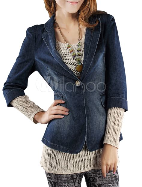 design of half jacket blue turndown collar antique design half sleeves women s