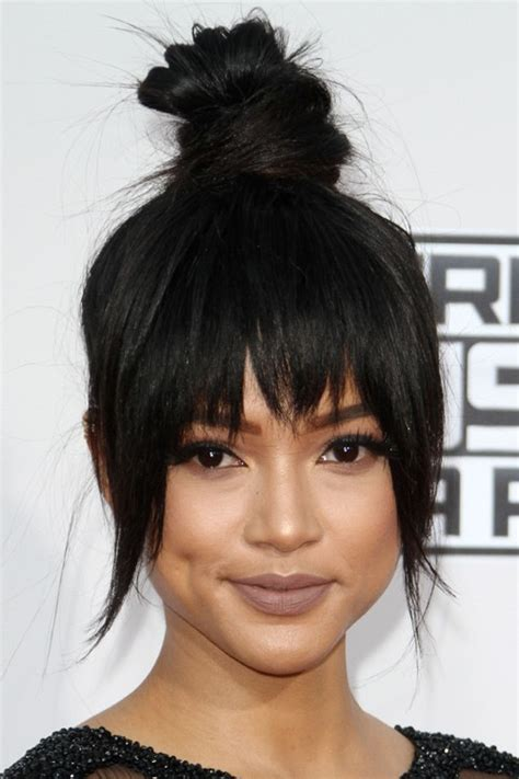 black hairstyles bun with bangs karrueche tran straight black bun choppy bangs updo