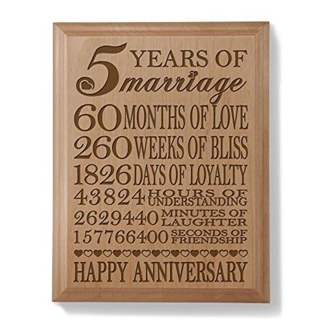 Wedding Anniversary 5th by Kate Posh 5th Anniversary Engraved Wood Plaque