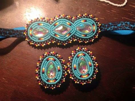 beadwork earrings headband and matching earrings let s see if i m a