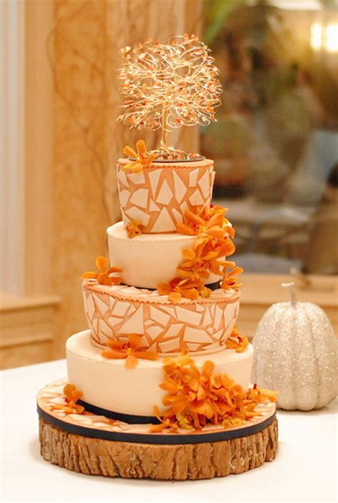 Fall Themed Mosaic Wedding Cake Wedding Cake   Cake Ideas