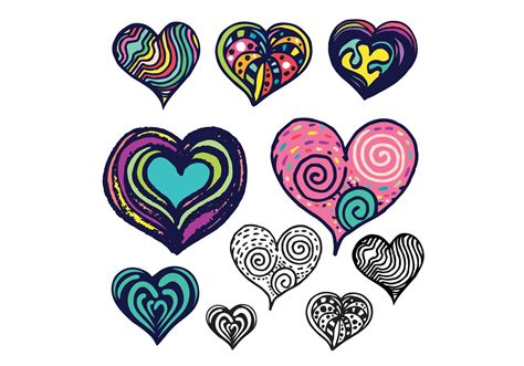 free doodle hearts free doodle vector set free vector