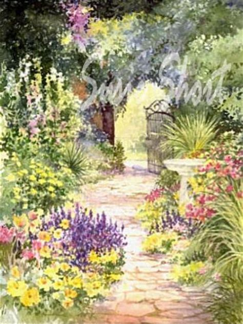Watercolor Gardens Flower Garden Paintings By Susie Paintings Of Flower Gardens