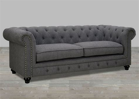 Traditional Gray Fabric Sofa With Nailhead Trim Gray Nailhead Sofa
