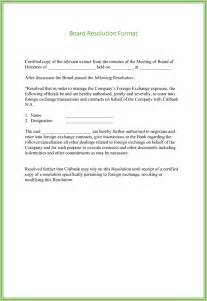 resolution template for board of directors board resolution templates 4 sles for word and pdf