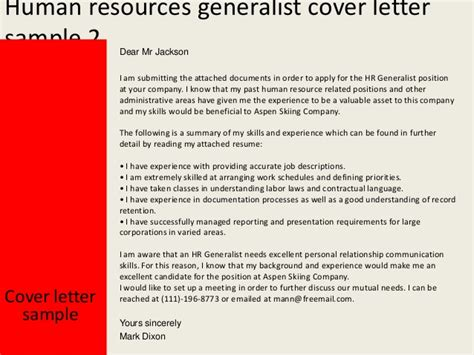 Thank You Letter For To Human Resources Human Resources Generalist Cover Letter