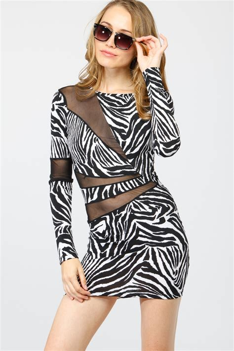 Zebra Dress sleeve zebra print dress cicihot dresses