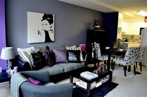 black and purple living room my three favorites in a room purple black and audrey
