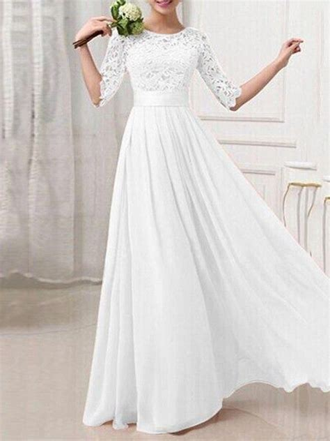 white patchwork lace hollow   sleeve bridesmaid