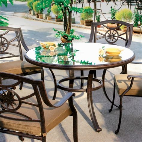 Glass Table Patio Set Darlee Ten 5 Cast Aluminum Patio Dining Set With Glass Top Table The Grill Store