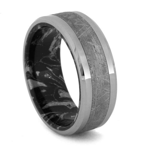 tungsten wedding band meteorite inlay and mokume sleeve