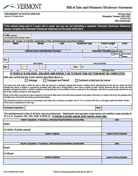 ga vessel registration form free vermont dmv bill of sale vehicle boat vt005