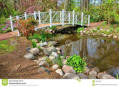 Botanical Garden Park Sayen Park Botanical Garden Ornamental Foot Bridge Stock