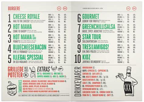 Menu Design Norway | menu design illegal burger oslo norway menu design