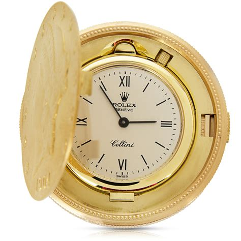 rolex cellini 20 gold coin pocket in 18k yellow