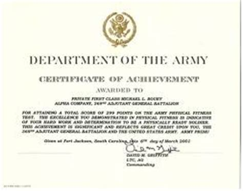 army certificate of achievement template the army certificate of achievement citizen soldier