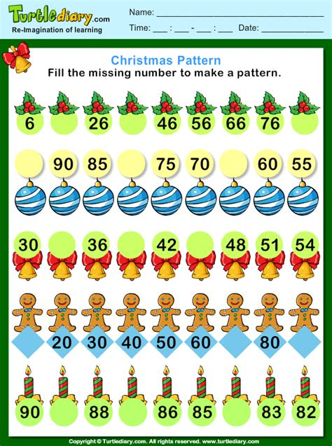 pattern of numbers finder christmas find the missing number pattern worksheet