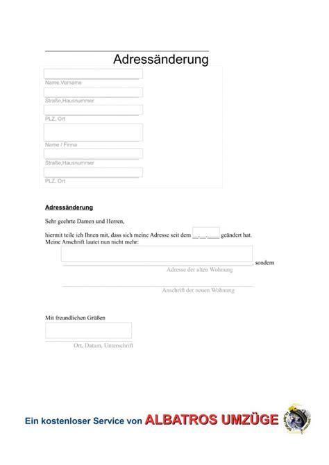 Anschreiben Umzug Neue Adrebe Vordruck Adress 228 Nderung Albatros Umz 252 Ge Berlin