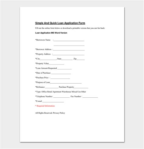 Simple Loan Application Form Template