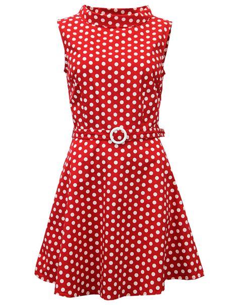Dress Minnie Polkadot 1 madcap retro 1960s mod polkadot mini belt dress in