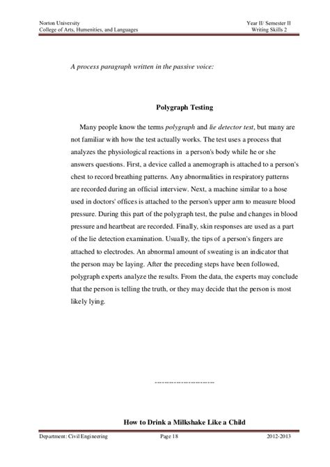 Process Analysis Paragraph by Process Analysis Assignment
