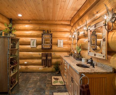 log cabin with bathroom and kitchen log homes canadian log homes