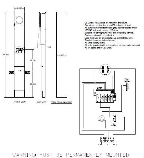 rv pedestal wiring diagrams park metering motorhome