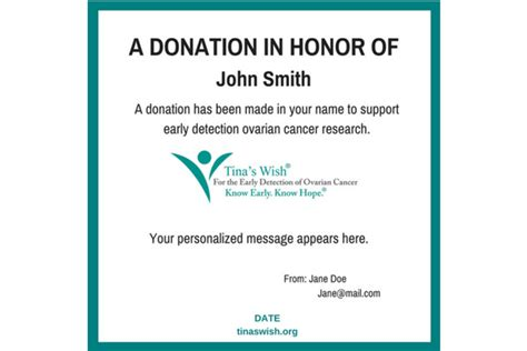 Ovarian Cancer Donation For Early Detection Research A Donation Has Been Made In Your Honor Template