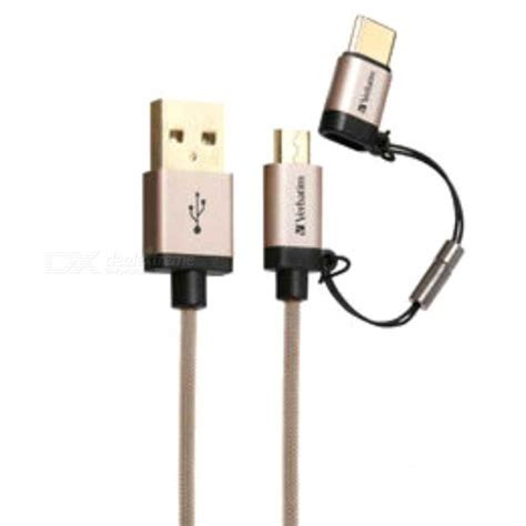 verbatim 120cm 2 in 1 usb to micro usb type c cable golden free shipping dealextreme