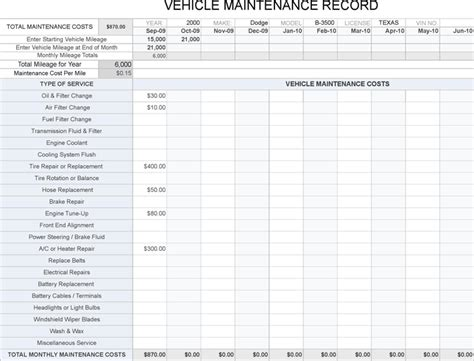 printable truck maintenance log template free excel