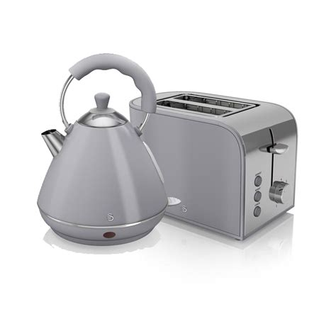 Grey Kettle And Toaster Set swan retro kettle and 2 slice toaster set grey kettle and toaster