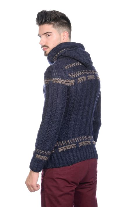 mens knitting pattern hooded jumper new brad jones mens thick cable knit hooded vintage nordic