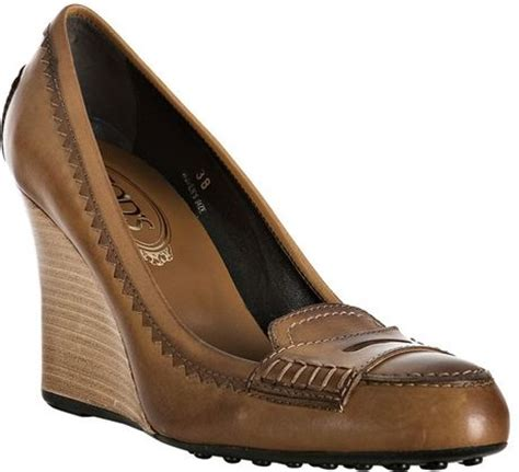 tod s brown leather newze loafer wedges in brown lyst