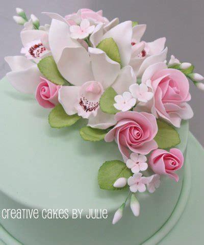 sugar flower spray | cymbidium orchids, roses, forget me