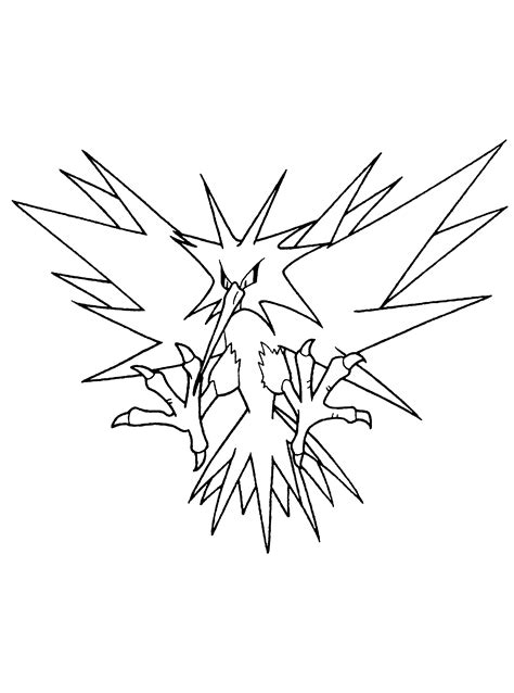 pokemon coloring pages zapdos legendary pokemon zapdos coloring pages coloring pages