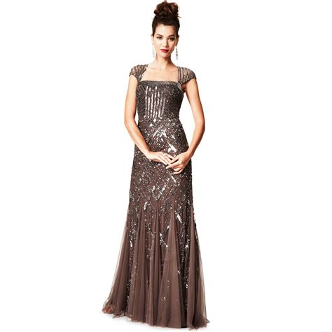 Papell Cap Sleeve Sequined Beaded Gown Dress In
