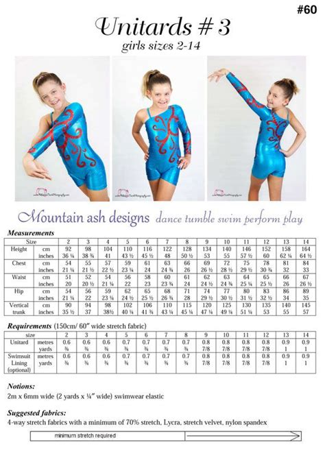 unitard pattern pdf unitards 3 pdf sewing pattern in girls sizes 2 14 long