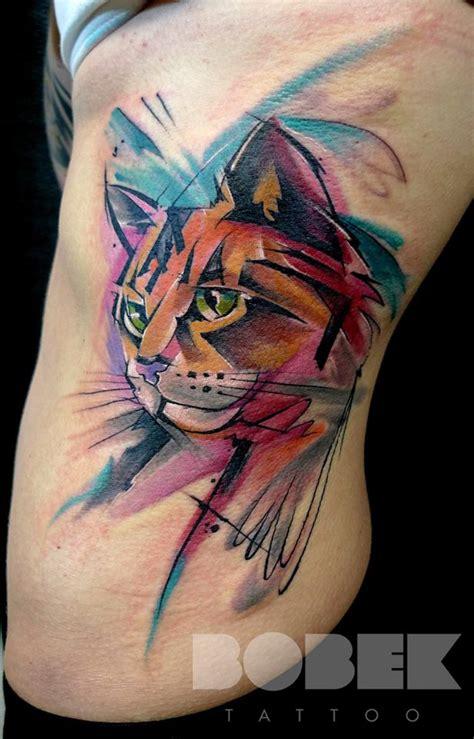 cat tattoo ribs watercolor cat head tattoo on left side rib