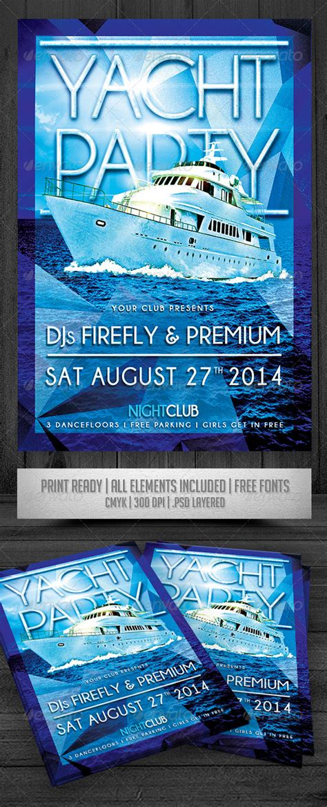 Yacht Party Flyer Graphicriver Free Boat Flyer Template
