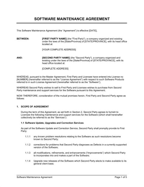Software Maintenance Agreement Template by Software Maintenance Agreement 2 Template Sle Form