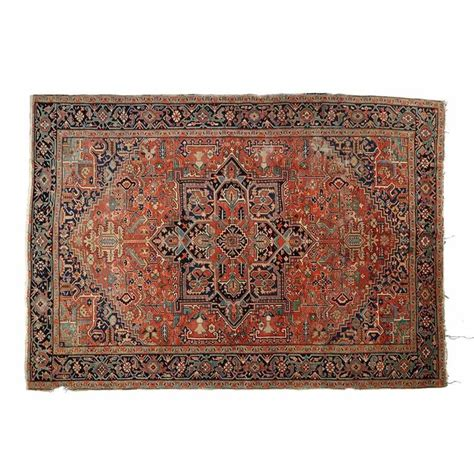 worn rug authentic antique worn heriz rug carpet early 20th century at 1stdibs
