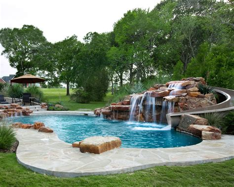 custom moss rock waterfall with beautiful water