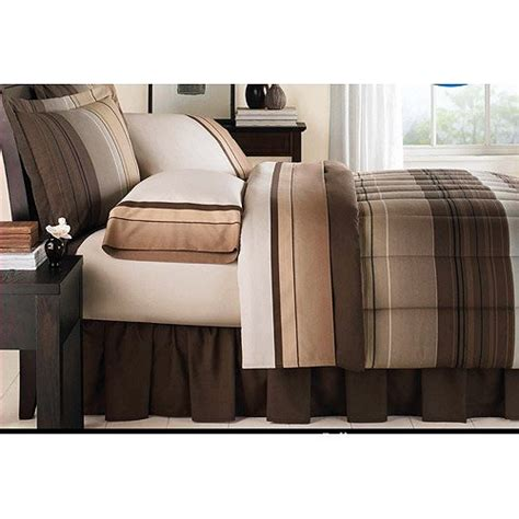 cheap brown tan striped boys twin comforter set 6 piece
