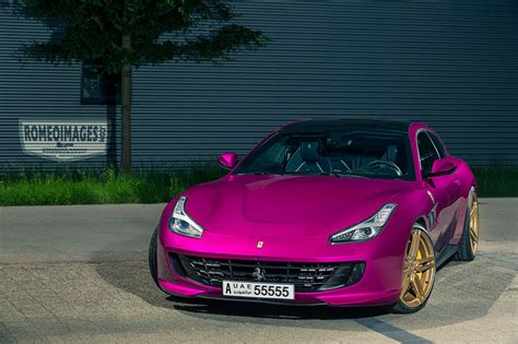 purple ferrari purple ferrari gtc4lusso on gold vossen wheels has all the