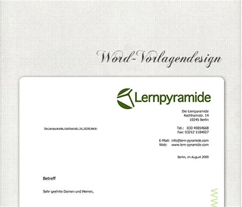 Design Vorlagen Word 2003 Headshot Berlin Briefpapier Lernpyramide